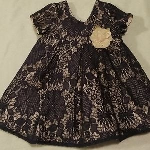 LAURA ASHLEY INFANT NAVY LACE AND LIGHT PINK DRESS